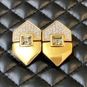 Zara Gold Mix Metal Rhinestone Statement Clip Ons